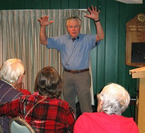 Bob Manning speaking at an Lamoille Valley OLLI event